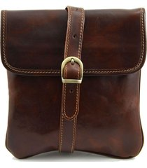 tuscany leather tl140987 joe - borsello in pelle a tracolla marrone