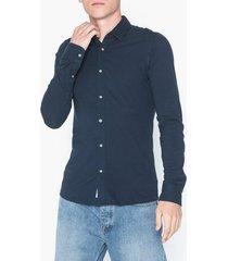 only & sons onscuton ls knitted melange shirt r skjortor mörk blå