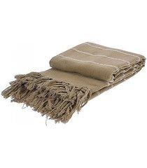 koc bawełniany z frędzlami pled narzuta beżowa