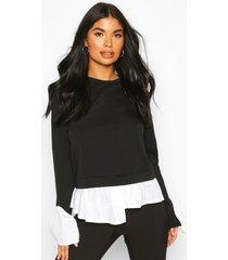 petite layered shirt sweat top, black