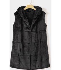 fleece zip front hooded waistcoat