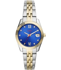 fossil women's scarlette mini two-tone stainless steel bracelet watch 32mm