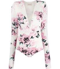 alexandre vauthier floral v-neck bodysuit - white