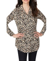 women's foxcroft lucca evening leopard wrinkle-free tunic shirt, size 10 - brown