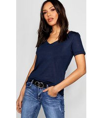 basic superzacht t-shirt met v-hals, marineblauw