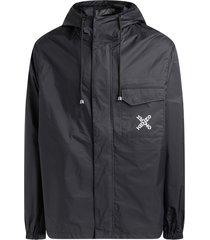 black sport windproof jacket with logo