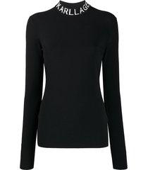 karl lagerfeld logo collar slim-fit sweatshirt - black