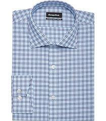 esquire blue & teal grid slim fit dress shirt