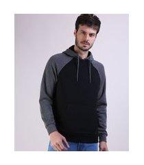 blusão de moletom masculino canguru com capuz manga longa preto