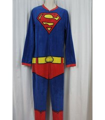 superman men's footless one piece sleepwear pj sz l red blue multi sleep pajama