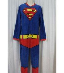 superman men's footless one piece sleepwear pj sz l red blue multi sleep pajama