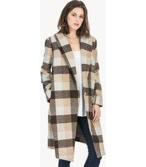 lilla p plaid outerwear shawl collar coat