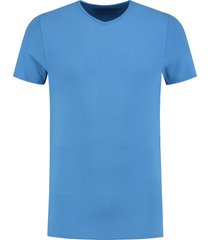 shirtsofcotton heren t-shirt blauw basic v-hals