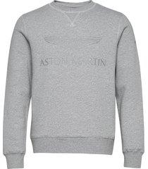 amr logo crew sweat-shirt tröja grå hackett london