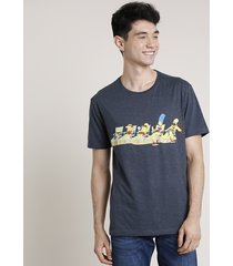 camiseta masculina os simpsons na praia manga curta gola careca azul marinho