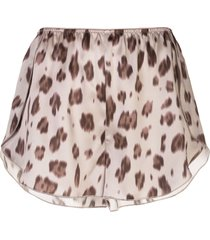 anine bing jade leopard-print silk shorts - neutrals
