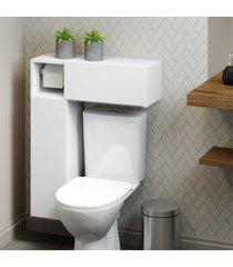 armã¡rio de banheiro para vaso sanitã¡rio  c/ suporte para papel higiãªnico e 2 portas multimã³veis bco - incolor - dafiti