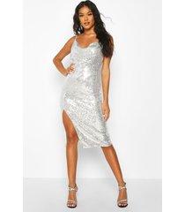 midi jurk met wijde hals, pailetten en zijsplit, zilver