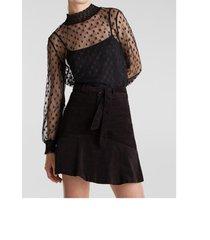 falda mini terciopelo negro esprit