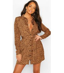 dierenprint blouse jurk, geelbruin