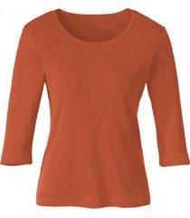biokatoenen shirt met ronde hals, papayarood 40/42