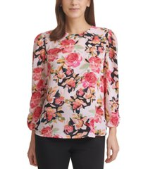 dkny floral-print ruched-sleeve top