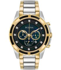 bulova men's chronograph diamond accent two-tone stainless steel bracelet watch 44mm 98d132