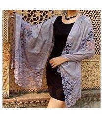 wool blend shawl, 'wisteria lace' (india)