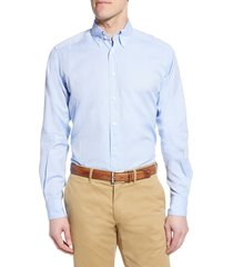 men's big & tall eton soft casual line contemporary fit oxford casual shirt, size 18.5 - blue