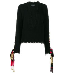 alanui bandana lace-up jumper - black