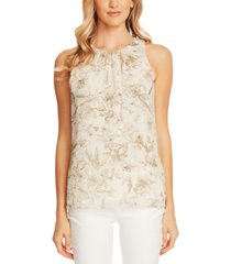 vince camuto botanical breeze printed sleeveless blouse