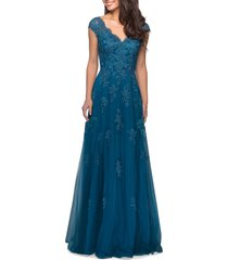 la femme embellished tulle & lace a-line gown, size 10 in teal at nordstrom