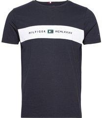 new logo tee t-shirts short-sleeved blå tommy hilfiger