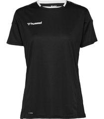 hmlauthentic poly jersey woman s/s t-shirts & tops short-sleeved svart hummel