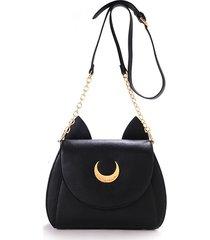 donna borsa a tracolla con stampato carino di luna disegno con orecchie borsa a spalla