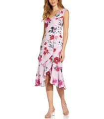 adrianna papell floral-print flounce midi dress