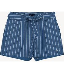 tommy hilfiger women's essential stripe tie-waist short dark wash stripe - 16