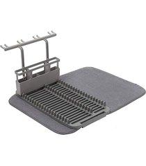 escorredor de louças udry microfibra suporte de talheres e taças cinza umbra