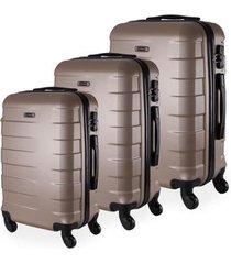 conjunto de 3 mala de viagem abs yins copenhagen cadeado tsa rodas giro 360º