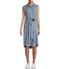 for the republic women's tie-front denim shirtdress - tencel - size l