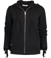 black cashmere and suede fringe hoodie