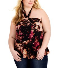 inc plus size printed keyhole halter top, created for macy's