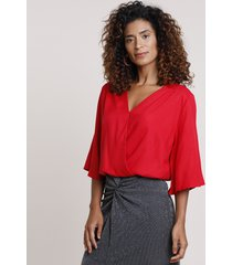 blusa feminina blusê transpassada manga 3/4 decote v vermelha