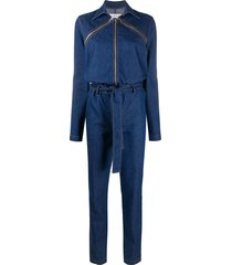almaz denim zip-detail jumpsuit - blue