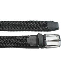 cinturón trenzado tela negro