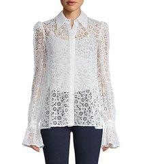 floral lace cotton-blend shirt
