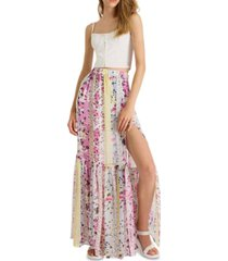 french connection floral-print ezeke crinkled high-slit maxi skirt