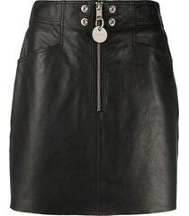 diesel leather mini skirt - black