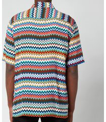 missoni men's classic neckline short sleeve shirt - multi - l