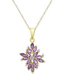 amethyst (1-3/4 ct. t.w.) and diamond accent cluster pendant necklace in 18k gold-plated sterling silver
